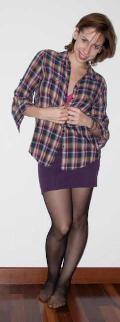 look do dia luta do dia camisa xadrez saia american apparel meia calca
