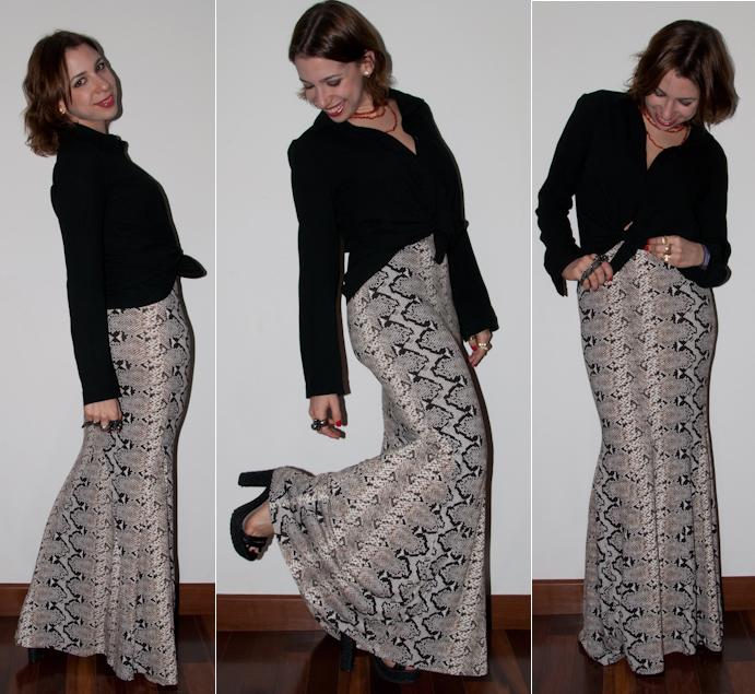 look do dia: como usar saia sereia - saia longa de estampa de cobra - blog de moda