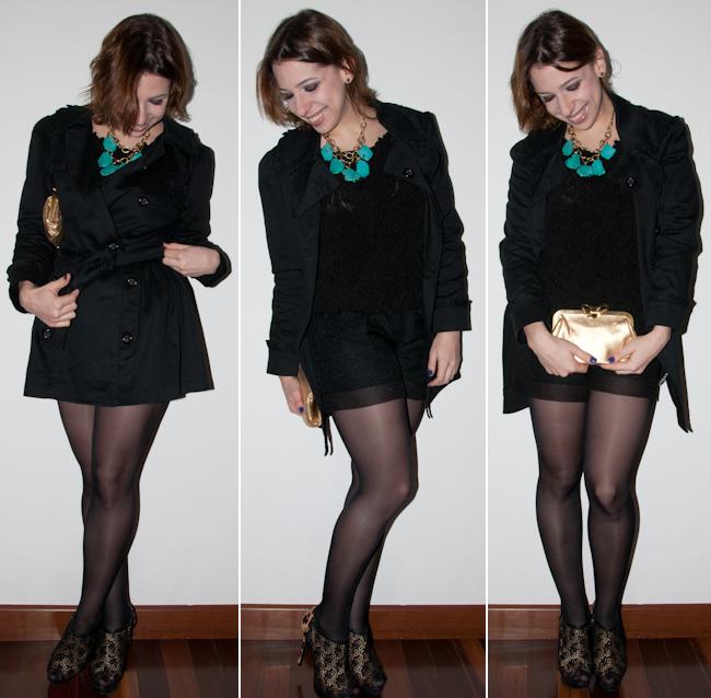 de253aa80d Look noite  como usar short com meia-calça