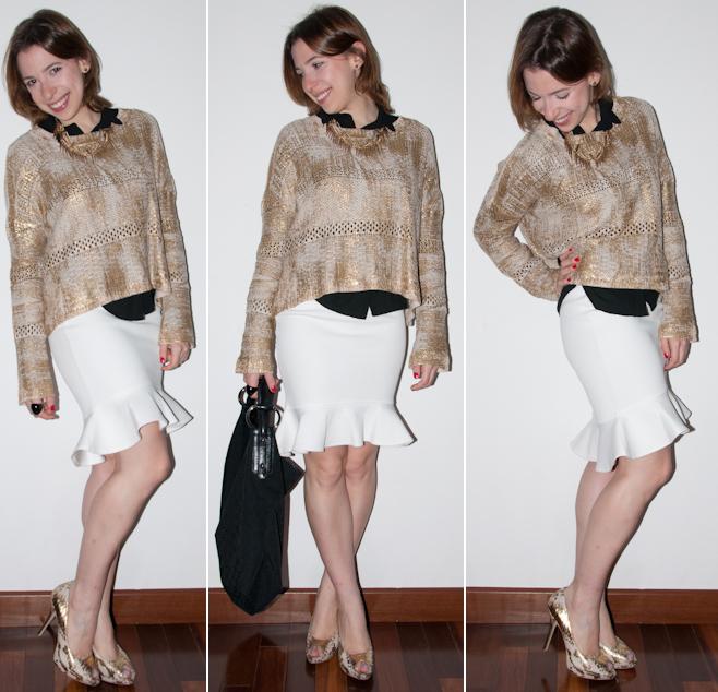 look do dia: como usar saia peplum, camisa, tricot metalizado, peep toe com estampa de cobra, maxi colar. H&M, alixshop, gucci, aldo. blog de moda
