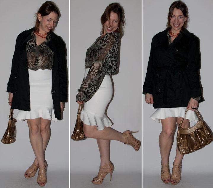 Look do dia: como usar saia peplum blusa transparente estampa de cobra trench coat sandalia nude schutz e bolsa gucci. Blog de moda