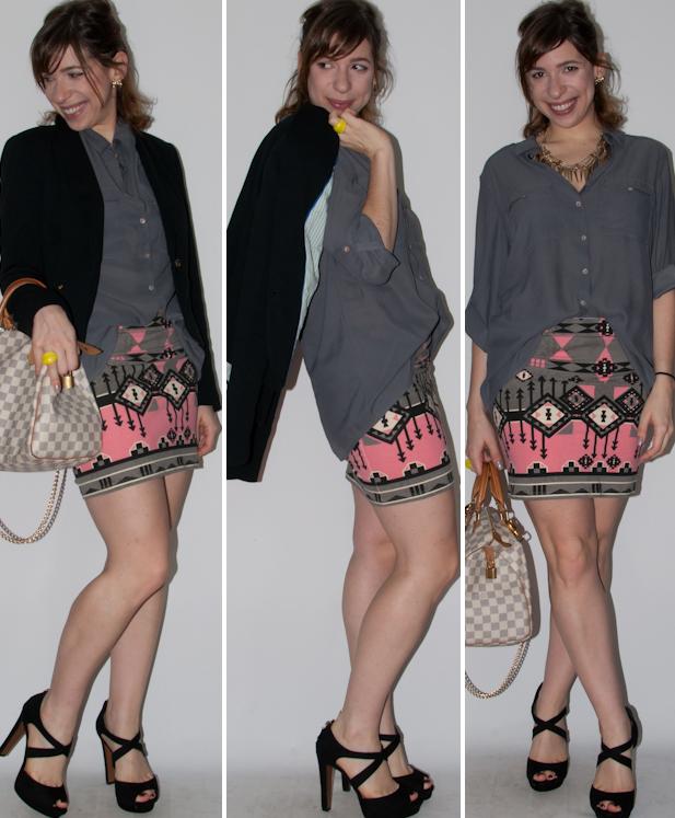 Blog de moda: como usar camisa de botão, saia de estampa étnica, blazer e salto alto com bolsa Speedy Louis Vuitton. Look do dia