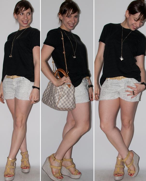 Look do dia: como usar camiseta masculina com short curto, anabela Santa Lolla e bolsa Speedy Louis Vuitton. Blog de moda