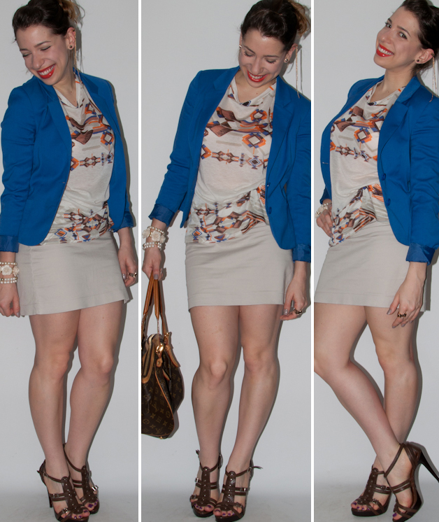 Look do dia: como usar estampa étnica com blazer azul-klein e sandália schutz com bolsa Louis Vuitton. Blog de moda