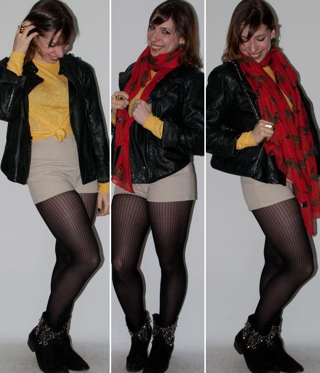 Look do dia: como usar hot pants cintura alta com crop top, meia calça, bota e jaqueta de couro. Blog de moda