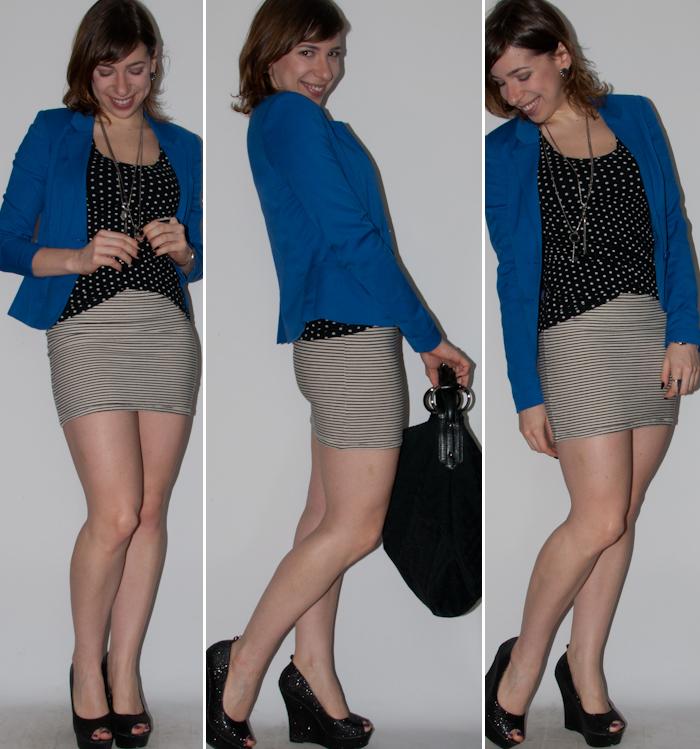 Look do dia: como usar mix de estampas com saia curta, blazer e sandália anabela. Blog de moda