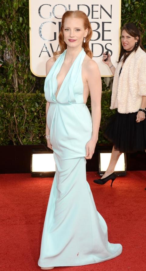 Tapete Vermelho Golden Globes 2013 - Jessica Chastain - Calvin Klein - blog de moda