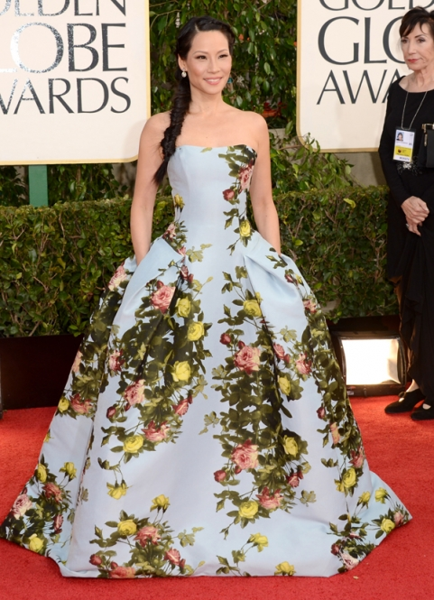Tapete Vermelho Golden Globes 2013 - Lucy Liu - Carolina Herrera - blog de moda