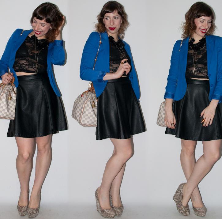 look do SPFW - como usar saia de couro e crop top de renda - blog de moda