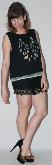 look do dia - look preto - como usar short de renda - blog de moda