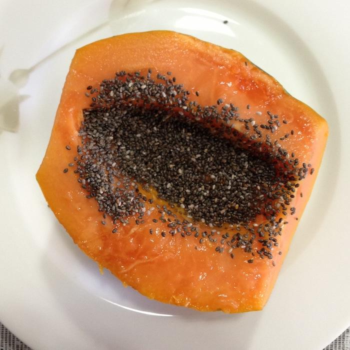 Reeducação alimentar - café da manhã - mamão com chia