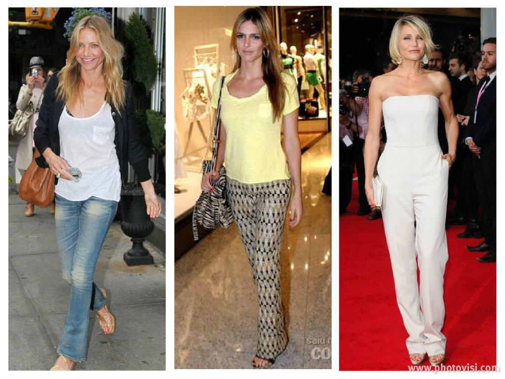 Dicas de moda e looks para mulheres com o corpo triângulo invertido - Calça