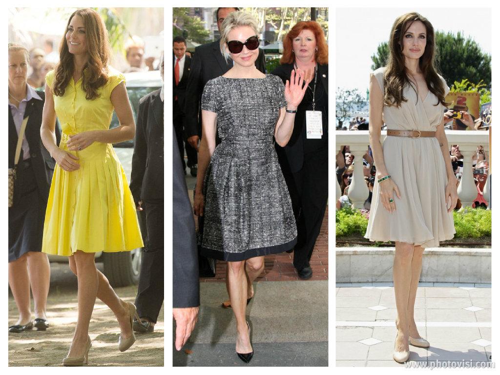 Dicas de moda e looks para mulheres com o corpo triângulo invertido - Saia e vestido 1