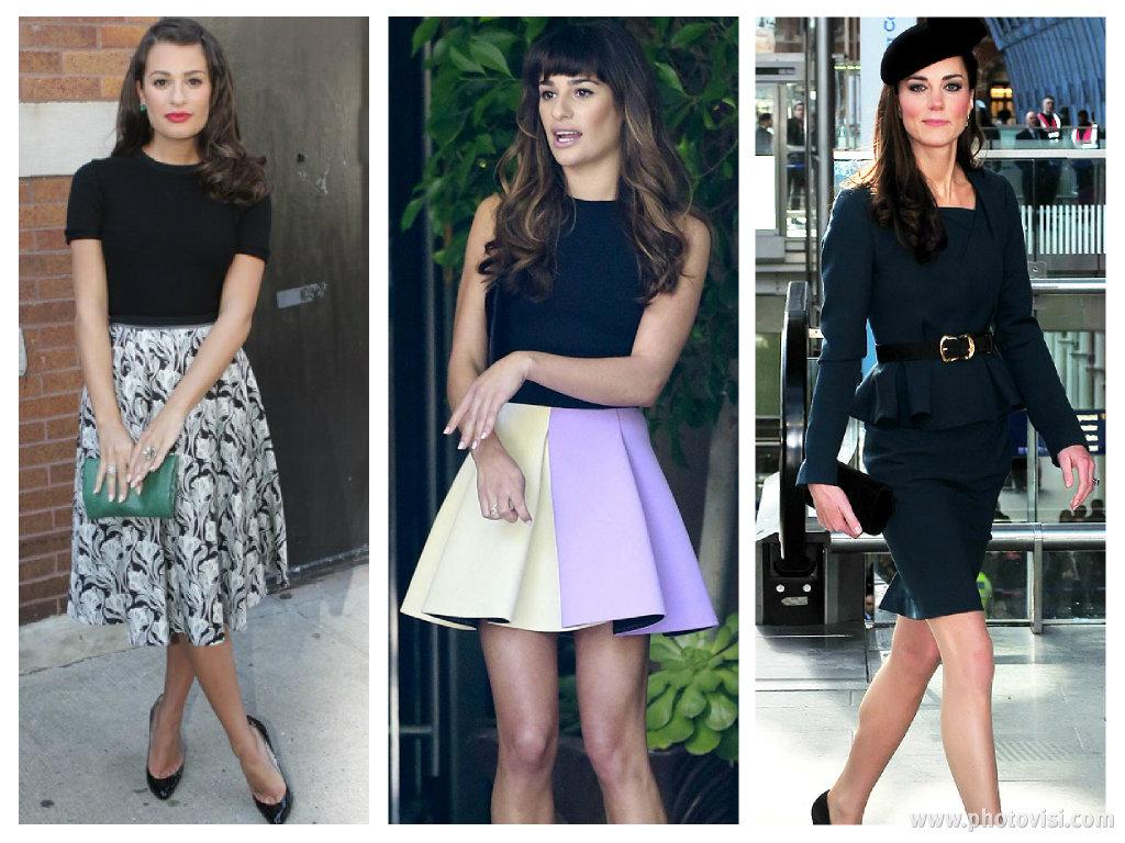 Dicas de moda e looks para mulheres com o corpo triângulo invertido - Saia e vestido