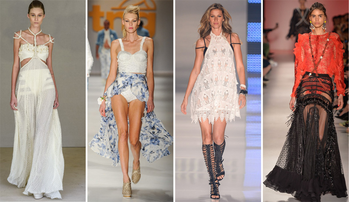 Tendencia SPFW hot pants saia transparente