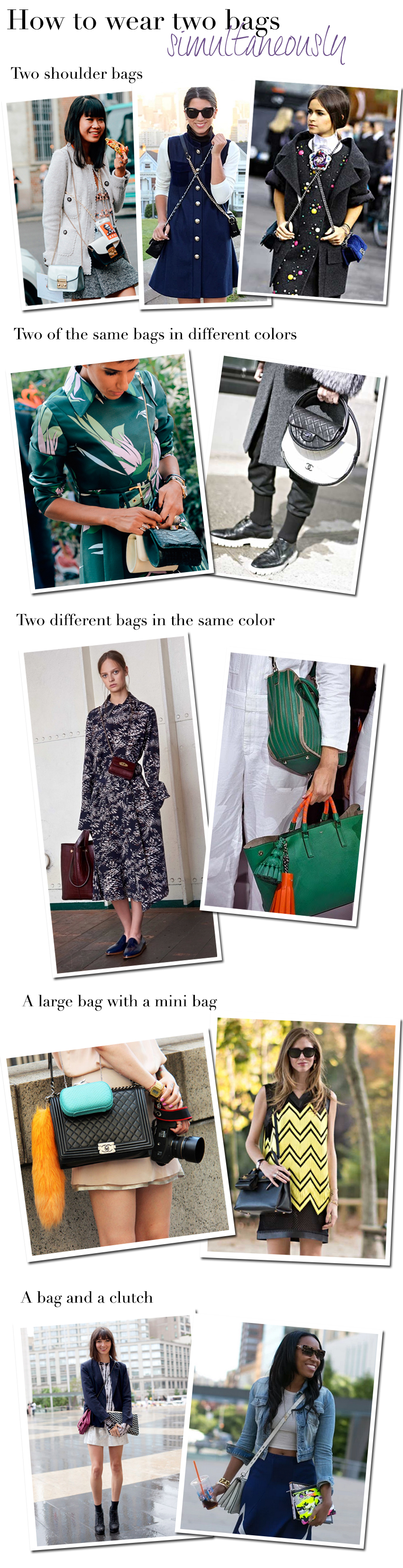how to wear two bags simultaneously