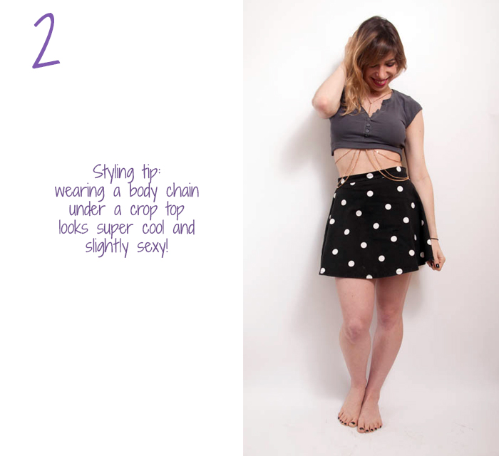 how to wear body chain with crop top 2